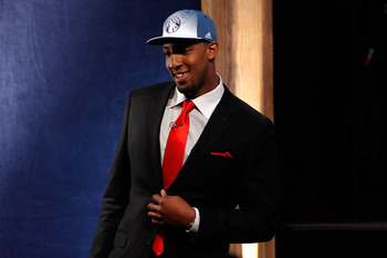 NEWARK, NJ - JUNE 23:  Derrick Williams from Arizona smiles after he was selected #2 overall by the Minnesota Timberwolves in the first round during the 2011 NBA Draft at the Prudential Center on June 23, 2011 in Newark, New Jersey.  NOTE TO USER: User ex