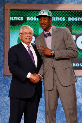 NEWARK, NJ - JUNE 23:  Marshon Brooks from Providence greets NBA Commissioner David Stern after Brooks was drafted #25 overall by the Boston Celtics in the first round during the 2011 NBA Draft at the Prudential Center on June 23, 2011 in Newark, New Jers