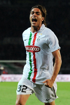 TURIN, ITALY - MAY 09:  Alessandro Matri of Juventus FC celebrates a goal during the Serie A match between Juventus FC and AC Chievo Verona at Olimpico Stadium on May 9, 2011 in Turin, Italy.  (Photo by Valerio Pennicino/Getty Images)