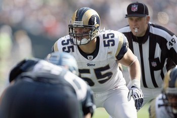SEATTLE, WA - SEPTEMBER 13:  James Laurinaitis #55 of the St. Louis Rams gets ready to move off the line during the game against the Seattle Seahawks on September 13, 2009 at Qwest Field in Seattle, Washington. The Seahawks defeated the Rams 28-0. (Photo