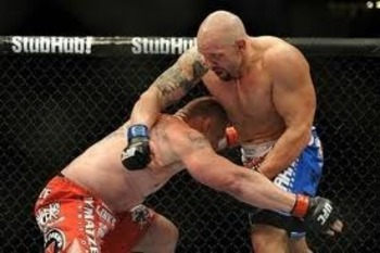 Brock Lesnar executing a take down on Shane Carwin