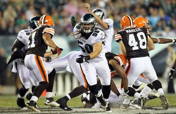 PHILADELPHIA, PA - AUGUST 25:  Casey Matthews #50 of the Philadelphia Eagles in action against the Cleveland Browns during their pre season game on August 25, 2011 at Lincoln Financial Field in Philadelphia, Pennsylvania.  (Photo by Jim McIsaac/Getty Imag