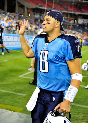 NASHVILLE, TN - AUGUST 27:  Quarterback Matt Hasselbeck #8 of the Tennessee Titans waves to fans as he leaves the field after a preseason game against the Chicago Bears at LP Field on August 27, 2011 in Nashville, Tennessee. Tennessee defeated Chicago, 14