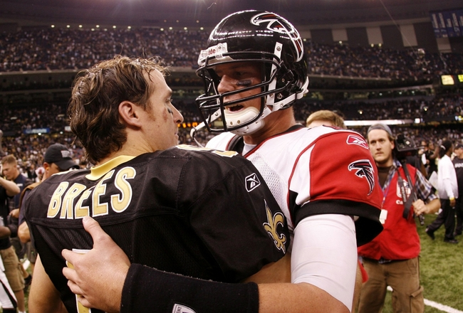 NEW ORLEANS - NOVEMBER 2:  Quarterback Drew Brees #9 of the New Orleans Saints greets quarterback Matt Ryan #2 of the Atlanta Falcons after the Saints 35-27 victory in the game at the Louisiana Superdome on November 2, 2009 in New Orleans, Louisiana. (Pho