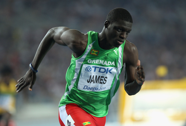 DAEGU, SOUTH KOREA - AUGUST 29:  Kirani James of Grenada competes in the Men's 400 metre semi finals during day three of 13th IAAF World Athletics Championships at the Daegu Stadium on August 29, 2011 in Daegu, South Korea.  (Photo by Chris McGrath/Getty