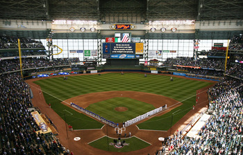 MILWAUKEE - APRIL 10: A general view of Miller Park during Opening Day ceremonies before a game between the Milwaukee Brewers and the Chicago Cubs on April 10, 2009 in Milwaukee, Wisconsin. (Photo by Jonathan Daniel/Getty Images)