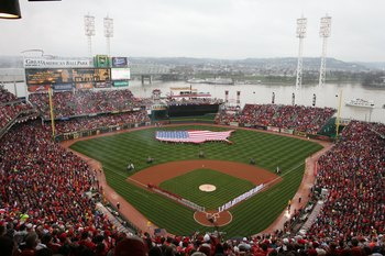 CINCINNATI - MARCH 31:  A general view of the stadium is shown during the National Anthem before the Cincinnati Reds game against the Arizona Diamondbacks on March 31, 2008 at Great American Ball Park in Cincinnati, Ohio.  (Photo by Andy Lyons/Getty Image