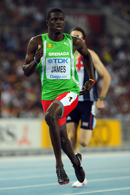 DAEGU, SOUTH KOREA - AUGUST 29:  Kirani James of Grenada competes in the Men's 400 metre semi finals during day three of 13th IAAF World Athletics Championships at the Daegu Stadium on August 29, 2011 in Daegu, South Korea.  (Photo by Stu Forster/Getty Im