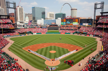 ST. LOUIS, MO - MARCH 31: Members of the St. Louis Cardinals and San Diego Padres line up for the National Anthem on opening day at Busch Stadium on March 31, 2011 in St. Louis, Missouri.  (Photo by Dilip Vishwanat/Getty Images)