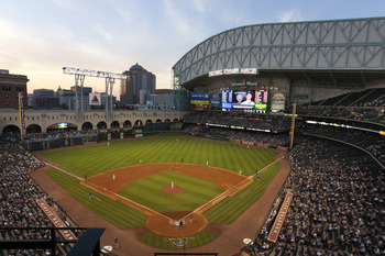 HOUSTON - APRIL 12:  A general view of Minute Maid Park from behind home plate on April 12, 2011 in Houston, Texas.  (Photo by Bob Levey/Getty Images)