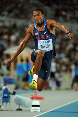 DAEGU, SOUTH KOREA - SEPTEMBER 04:   Christian Taylor of the USA competes in the men's triple jump final during day nine of 13th IAAF World Athletics Championships at Daegu Stadium on September 4, 2011 in Daegu, South Korea.  (Photo by Stu Forster/Getty I