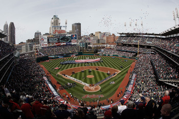 CLEVELAND, OH- APRIL 12: A general view during the singing of the national anthem before the game between the Texas Rangers and the Cleveland Indians during the Opening Day game on April 12, 2010 at Progressive Field in Cleveland, Ohio.  (Photo by Jared W