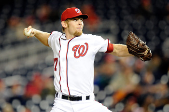 WASHINGTON, DC - SEPTEMBER 06:  Stephen Strasburg #37 of the Washington Nationals pitches against the Los Angeles Dodgers at Nationals Park on September 6, 2011 in Washington, DC.  (Photo by Greg Fiume/Getty Images)