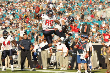 JACKSONVILLE, FL - NOVEMBER 14:  Andre Johnson #80 of the Houston Texans celebrates a touchdown with David Anderson #89 during a game against the Jacksonville Jaguars at EverBank Field on November 14, 2010 in Jacksonville, Florida.  (Photo by Mike Ehrmann