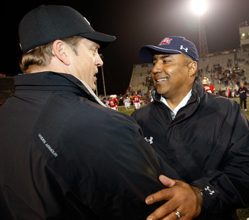 MOBILE, AL - JANUARY 24:  Head Coach Jack Del Rio of the South Team is congratulated by head coach Marvin Lewis of the North Team after the Under Armour Senior Bowl on January 24, 2009 at Ladd-Peebles Stadium in Mobile, Alabama. (Photo by Chris Graythen/G
