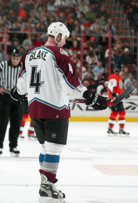 PHILADELPHIA - JANUARY 14: Rob Blake #4 of the Colorado Avalanche skates during the game against the Philadelphia Flyers at the Wachovia Center on January 14,2006 in Philadelphia, Pennsylvania. The Avalanche defeated the Flyers 4-3 in Overtime. (Photo by