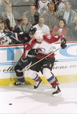 28 Jan 1998:  Uwe Krupp #4 of the Colorado Avalanche in action during the Avalanche 6-1 win over the Vancouver Canucks at McNichols Arena in Denver, Colorado. Mandatory Credit: Brian Bahr  /Allsport