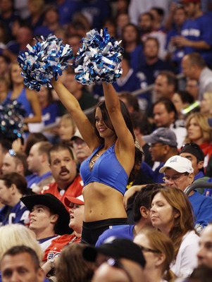 TAMPA, FL - MAY 03:  An ice girl gets the crowd going during the game between the Tampa Bay Lightning and the Washington Capitals in Game Three of the Eastern Conference Semifinals during the 2011 NHL Stanley Cup Playoffs at St Pete Times Forum on May 3,