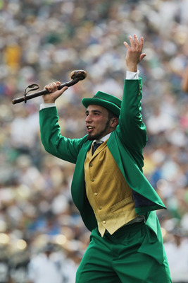 SOUTH BEND, IN - SEPTEMBER 03:  The Notre Dame Fighting Irish mascot the leprechaun cheers during a game against the University of South Florida Bulls at Notre Dame Stadium on September 3, 2011 in South Bend, Indiana. South Florida defeated Notre Dame 23-