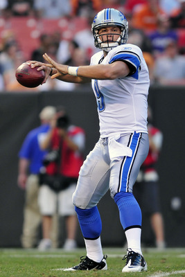 CLEVELAND, OH - AUGUST 19: Starting quarterback Matthew Stafford #9 of the Detroit Lions looks to pass during the first quarter against the Cleveland Browns at Cleveland Browns Stadium on August 19, 2011 in Cleveland, Ohio. (Photo by Jason Miller/Getty Im
