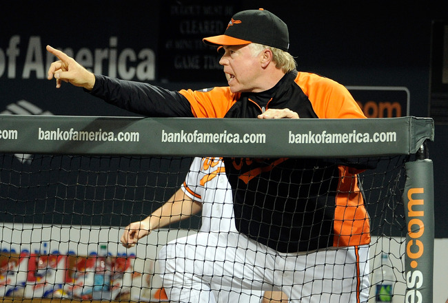 BALTIMORE, MD - AUGUST 30:  Manager Buck Showalter #26 of the Baltimore Orioles motions to his players during the tenth inning against the Toronto Blue Jays at Oriole Park at Camden Yards on August 30, 2011 in Baltimore, Maryland. Baltimore won the game 6