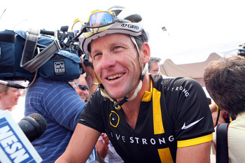 BOURNE, MASSACHUSETTS - AUGUST 06: Lance Armstrong attends the 2011 Pan-Massachusetts Challenge on August 6, 2011 in Bourne, Massachusetts. (Photo by Gail Oskin/Getty Images)