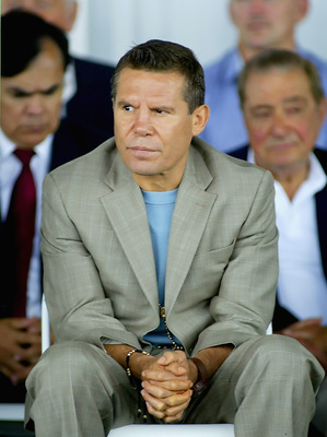 CANASTOTA, NY - JUNE 12: Julio Cesar Chavez sits on stage during the 2011 International Boxing Hall of Fame Inductions at the International Boxing Hall of Fame on June 12, 2011 in Canastota, New York. Chavez is a 2011 inductee. (Photo by Rick Stewart/Gett