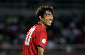 SEOUL, SOUTH KOREA - SEPTEMBER 02:  Park Chu-Young of South Korea reacts during the 2014 FIFA World Cup Brazil Asian 3rd Qualifier match between South Korea and Lebanon at Goyang stadium on September 2, 2011 in Goyang, South Korea.  (Photo by Chung Sung-J