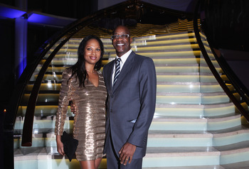 ABU DHABI, UNITED ARAB EMIRATES - FEBRUARY 06: Academy Chairman Edwin Moses and wife Michelle attend the Laureus Welcome Party as part of the 2011 Laureus World Sports Awards at Cipriani Yas Island on February 6, 2011 in Abu Dhabi, United Arab Emirates.