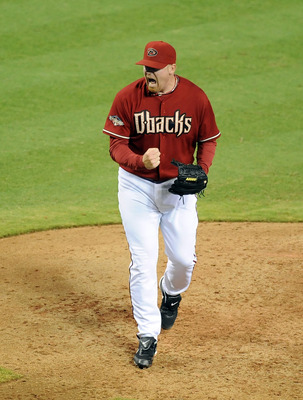 PHOENIX, AZ - AUGUST 31:  J.J. Putz #40 of the Arizona Diamondbacks yells in celebration after closing out the Colorado Rockies at Chase Field on August 31, 2011 in Phoenix, Arizona. Arizona won 4-2. (Photo by Norm Hall/Getty Images)