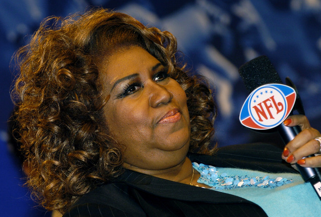 Aretha Franklin  at a Super Bowl XL Pregame and Anthem press conference February  2, 2006 in Detroit.  (Photo by Al Messerschmidt/Getty Images)