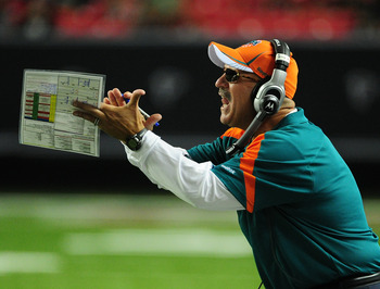 ATLANTA - AUGUST 12: Head Coach Tony Sparano of the Miami Dolphins reacts to a play against the Atlanta Falcons during a preseason game at the Georgia Dome on August 12, 2011 in Atlanta, Georgia. (Photo by Scott Cunningham/Getty Images)