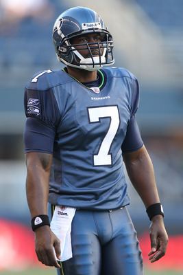 SEATTLE - AUGUST 20:  Quarterback Tarvaris Jackson #7 of the Seattle Seahawks looks on prior to the game against the Minnesota Vikings at CenturyLink Field on August 20, 2011 in Seattle, Washington. The Vikings won 20-7. (Photo by Otto Greule Jr/Getty Ima