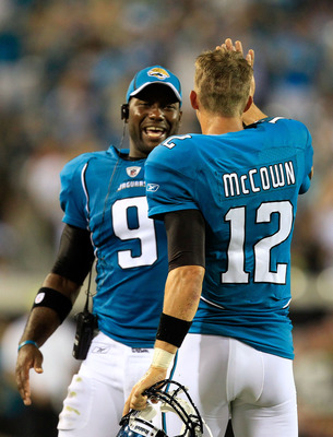 JACKSONVILLE, FL - SEPTEMBER 01:  Quarterback David Garrard #9 and Luke McCown #12  of the Jacksonville Jaguars celebrate following a touchdown during a game against the St. Louis Rams at EverBank Field on September 1, 2011 in Jacksonville, Florida.  (Pho