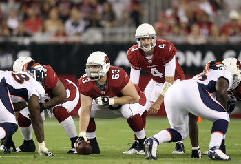 GLENDALE, AZ - SEPTEMBER 01:  Quarterback Kevin Kolb #4 of the Arizona Cardinals during the preseason NFL game against the Denver Broncos at the University of Phoenix Stadium on September 1, 2011 in Glendale, Arizona. The Cardinals defeated the Broncos 26