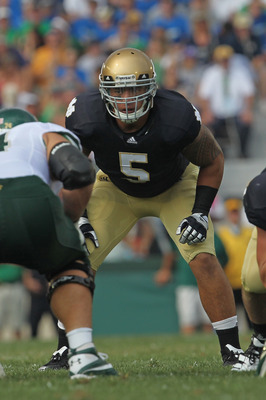 SOUTH BEND, IN - SEPTEMBER 03:  Manti Te'o #5 of the Notre Dame Fighting Irish awaits the start of play against the University of South Florida Bulls at Notre Dame Stadium on September 3, 2011 in South Bend, Indiana. South Florida defeated Notre Dame 23-2