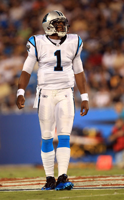 CHARLOTTE, NC - SEPTEMBER 01:  Cam Newton #1 of the Carolina Panthers during their preseason game against the Pittsburg Steelers at Bank of America Stadium on September 1, 2011 in Charlotte, North Carolina.  (Photo by Streeter Lecka/Getty Images)
