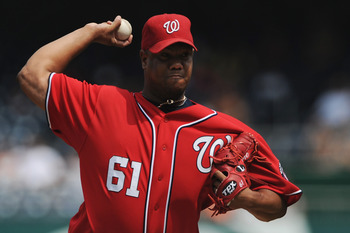 WASHINGTON, DC - SEPTEMBER 4: Starting pitcher Livan Hernandez #61 of the Washington Nationals works the first inning the New York Mets at Nationals Park on September 4, 2011 in Washington, DC. (Photo by Patrick Smith/Getty Images)