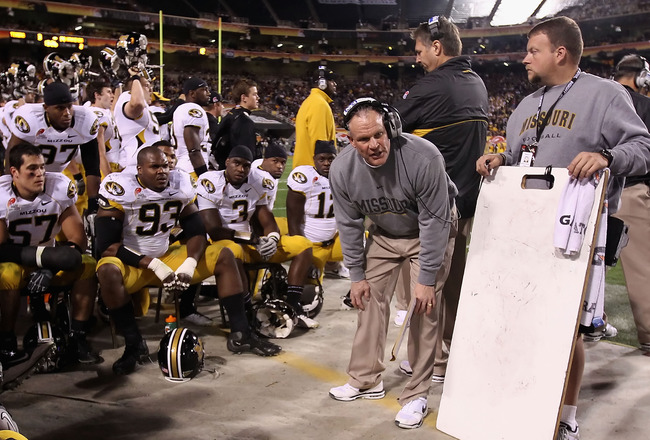 TEMPE, AZ - DECEMBER 28:  Defensive coordinator Dave Steckel of the Missouri Tigers during the Insight Bowl against  the Iowa Hawkeyes at Sun Devil Stadium on December 28, 2010 in Tempe, Arizona.  (Photo by Christian Petersen/Getty Images)