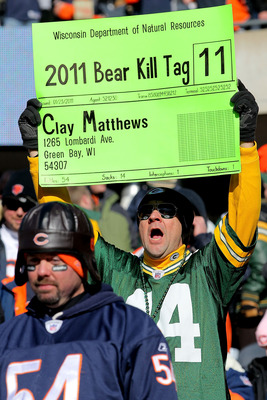 CHICAGO, IL - JANUARY 23:  A Green Bay Packers fan holds up a sign before the Packers take on the Chicago Bears in the NFC Championship Game at Soldier Field on January 23, 2011 in Chicago, Illinois.  (Photo by Doug Pensinger/Getty Images)