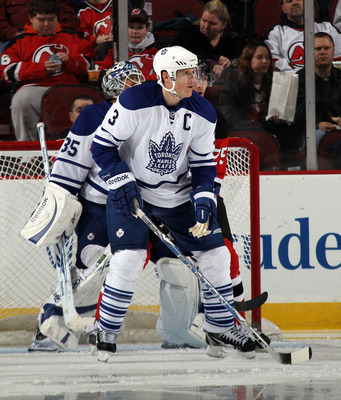 NEWARK, NJ - APRIL 06:  Dion Phaneuf #3 of the Toronto Maple Leafs skates against the New Jersey Devils at the Prudential Center on April 6, 2011 in Newark, New Jersey.  (Photo by Bruce Bennett/Getty Images)