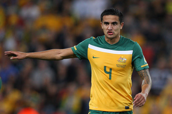 BRISBANE, AUSTRALIA - SEPTEMBER 02:  Tim Cahill of the Socceroos during the Asian Qualifying 2014 FIFA World Cup match between the Australian Socceroos and Thailand at Suncorp Stadium on September 2, 2011 in Brisbane, Australia.  (Photo by Chris Hyde/Gett