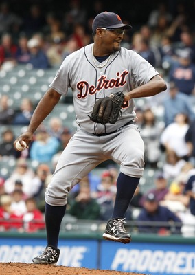CLEVELAND, OH - SEPTEMBER 7:   Jose Valverde #46 of the Detroit Tigers pitches against the Cleveland Indians during the ninth inning of their game on September 7, 2011 at Progressive Field in Cleveland, Ohio.  The Tigers defeated the Indians 8-6.   (Photo