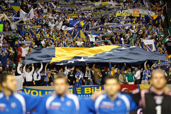 ATLANTA, GA - FEBRUARY 09:  Fans of Bosnia-Herzegovina hold up a large flag during their anthem before facing Mexico during an international friendly match at Georgia Dome on February 9, 2011 in Atlanta, Georgia.  (Photo by Kevin C. Cox/Getty Images)