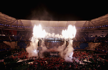 HAMBURG, GERMANY - JULY 02:  A general view of fireworks above the ring prior to the heavy weight title fight between Wladimir Klitschko of the Ukraine and David Haye of England at the Imtech Arena on July 2, 2011 in Hamburg, Germany.  (Photo by Scott Hea