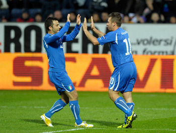 TORSHAVN, DENMARK - SEPTEMBER 02:  Antonio Cassano and Giuseppe Rossi of Italy celebrates scoring the first goal during the EURO 2012 Group C Qualifier match between Faroe Islands and Italy at Torsvollur Stadium on September 2, 2011 in Torshavn, Denmark.