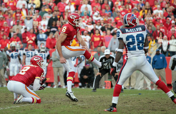 KANSAS CITY, MO - OCTOBER 31:  Kicker Ryan Succop #6 of the Kansas City Chiefs kicks a field goal in overtime to win the game against the Buffalo Bills on October 31, 2010  at Arrowhead Stadium in Kansas City, Missouri.  (Photo by Jamie Squire/Getty Image