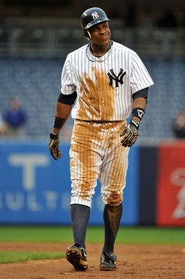 NEW YORK, NY - SEPTEMBER 07: Curtis Granderson #14 of the New York Yankees reacts after being forced out at second base to end the game in the bottom of the eleventh inning against the Baltimore Orioles on September 7, 2011 at Yankee Stadium in the Bronx