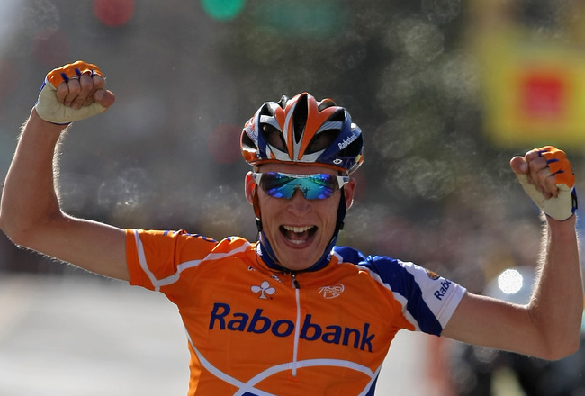 SAN JOSE, CA - FEBRUARY 20:  Robert Gesink of the Netherlands, riding for Rabobank, celebrates winning Stage 3 of the AMGEN Tour of California on February 20, 2008 in San Jose, California.  (Photo by Doug Pensinger/Getty Images)