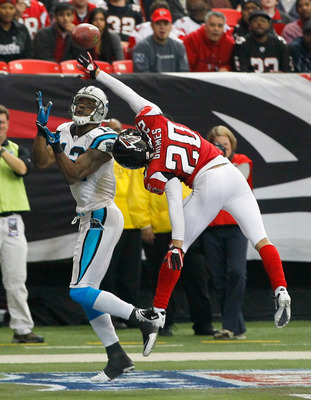 ATLANTA, GA - JANUARY 02:  Brent Grimes #20 of the Atlanta Falcons breaks up this touchdown reception intended for David Gettis #12 of the Carolina Panthers at Georgia Dome on January 2, 2011 in Atlanta, Georgia.  (Photo by Kevin C. Cox/Getty Images)